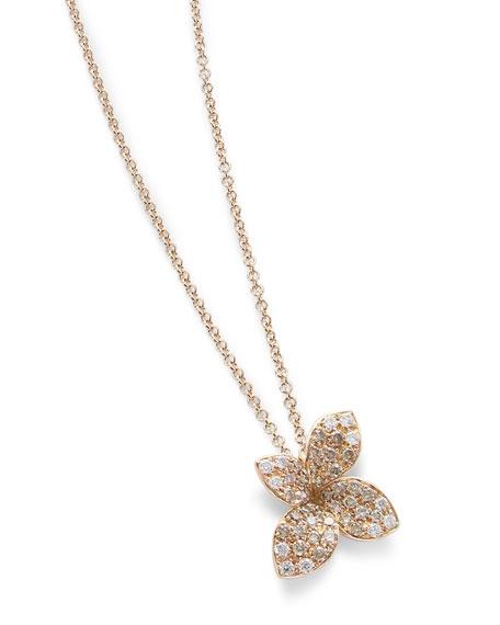 Giardini Segreti Petite Pendant Necklace with Diamonds in 18K Rose Gold