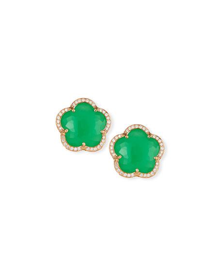 Bon Ton Chrysoprase Button Earrings with Diamonds in 18K Rose Gold