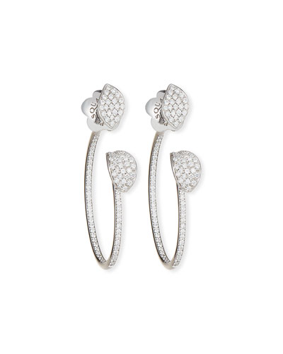 Giardini Segreti Petite Diamond Hoop Earrings in 18 Karat White Gold