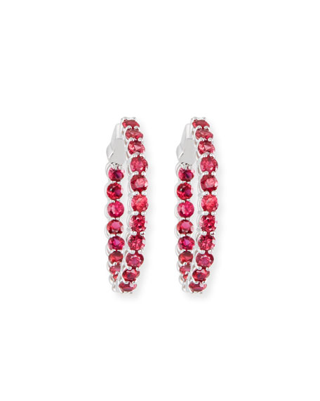 Large Ruby Hoop Earrings