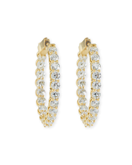 Large Diamond Hoop Earrings in 18K Yellow Gold