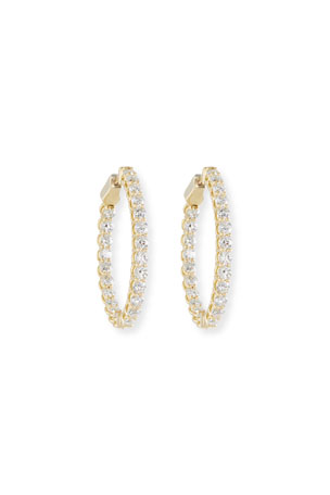 NM Diamond Collection Diamond Hoop Earrings in 18K Gold