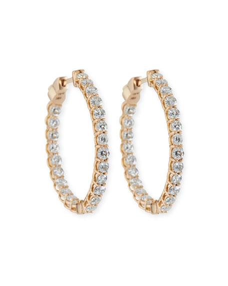 American Jewelery Designs Large Diamond Hoop Earrings in 18K Rose Gold UXj0Juh