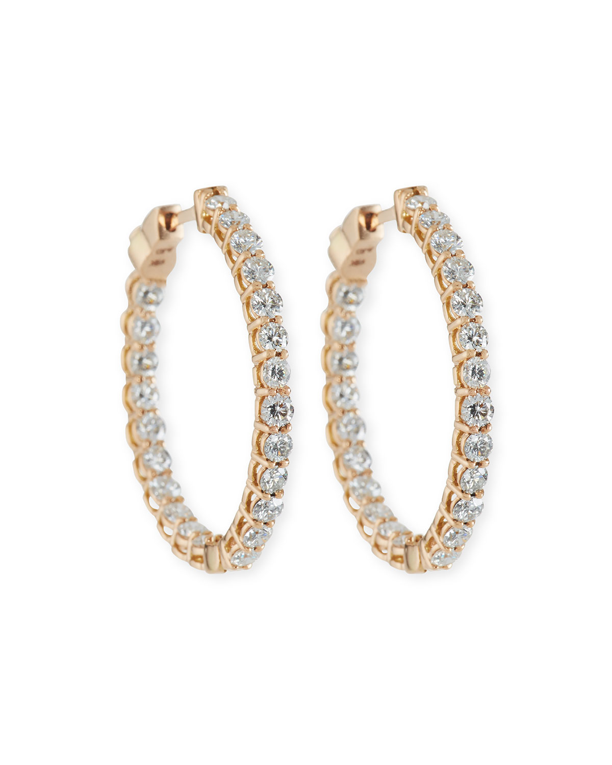 Small Diamond Hoop Earrings In 18k Rose Gold