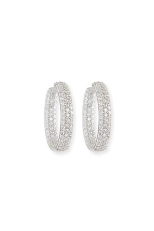 NM Diamond Collection 25mm Pave Diamond Hoop Earrings