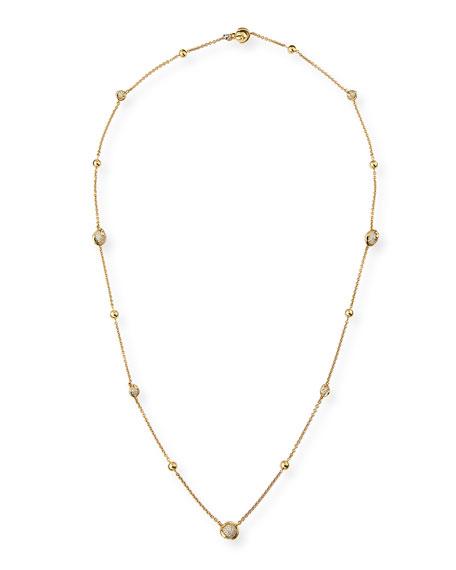 "Cardan Pavé Diamond Station Necklace, 36"""