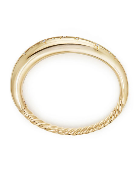 9.5mm Pure Form Smooth 18K Gold Bracelet with Diamonds, Size L