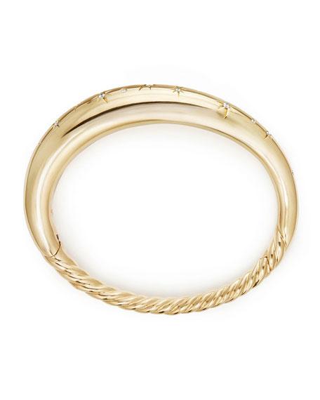 9.5mm Pure Form Smooth 18K Gold Bracelet with Diamonds, Size L