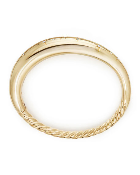 9.5mm Pure Form Smooth 18K Gold Bracelet with Diamonds, Size M