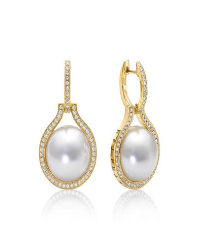 South Sea Pearl & Diamond Drop Earrings, 15mm