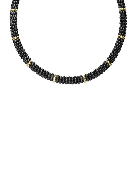 Black Caviar & 18K Gold Single-Strand Necklace