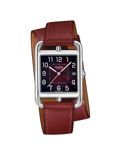 Cape Cod PM Stainless Steel & Double Tour Leather Strap Watch