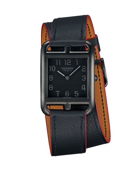 Cape Cod GM Matte Black Leather Wrap Watch