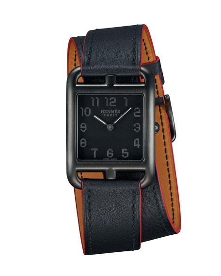 Cape Cod GM Matte Black Leather Wrap Watch