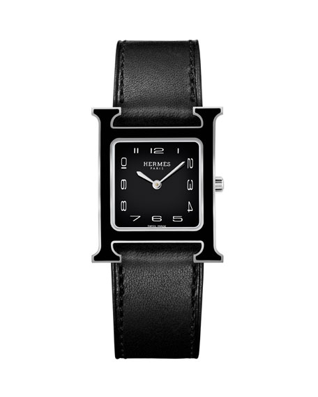 Heure H MM Watch with Black Leather Strap
