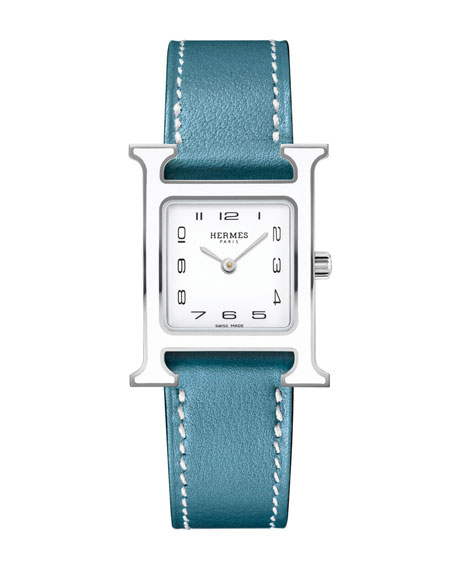 Heure H PM Watch with Blue Leather Strap