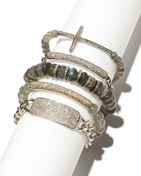 8mm Labradorite Beaded Bracelet with Diamond Bar
