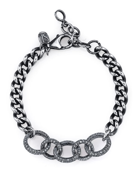 Curb Chain Bracelet with Diamond Links