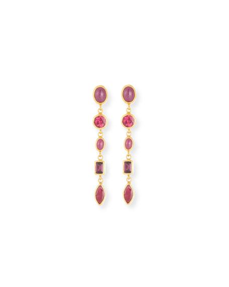 Ruby & Rhodolite Linear Drop Earrings