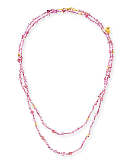 Pink Sapphire, Topaz & Tourmaline Beaded Necklace, 40""