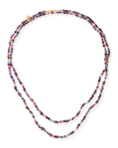 Sapphire, Garnet & Rhodolite Beaded Necklace, 50