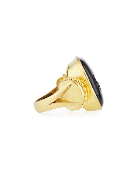 Rearing Horse Onyx Cushion Ring, Size 6.5