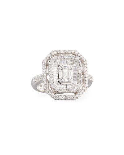 Mosaic Emerald Illusion Diamond Double-Halo Ring