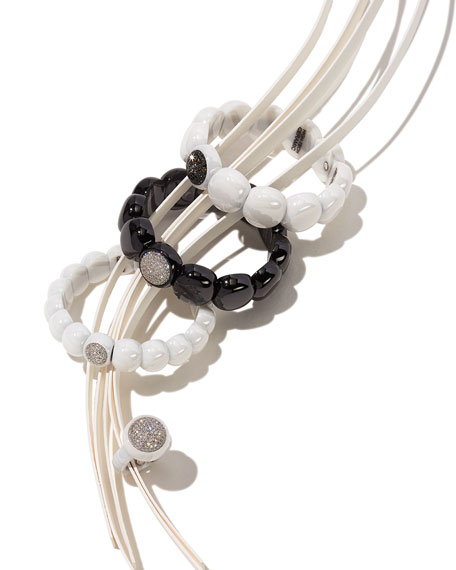 Dama Beaded White Ceramic & Black Diamond Stretch Bracelet