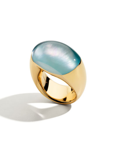 18K Rose Gold Rock Crystal/Turquoise Biscuit Ring, Size 7