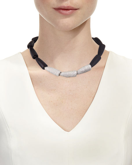 Calla 18k White Gold White Diamonds Ebony Necklace