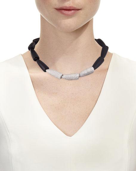 Calla 18k White Gold White Diamonds Ebony Necklace