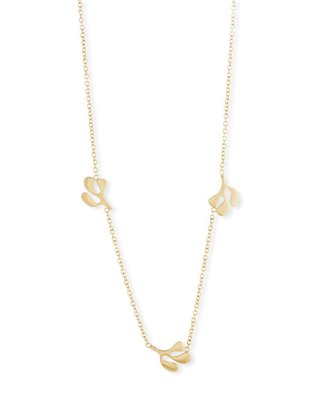 Sea Leaf Station Necklace in 18K Yellow Gold