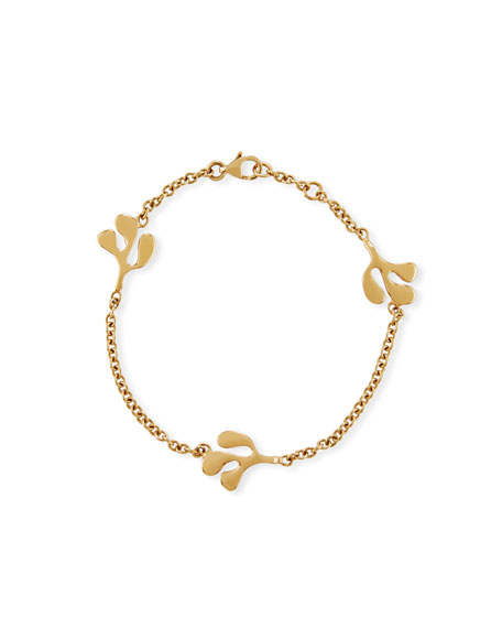 Sea Leaf Station Bracelet in 18K Yellow Gold