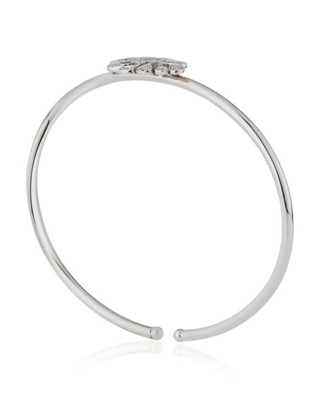 Sea Leaf Diamond Bangle in 18K White Gold