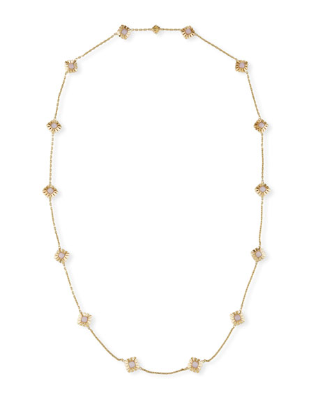 Pink Opal Station Necklace in 18K Gold