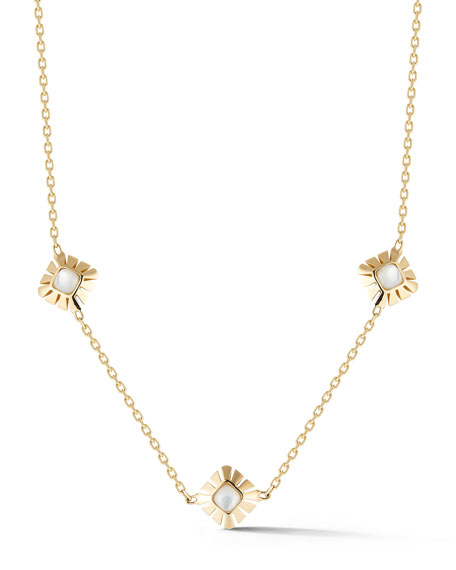 Mother-of-Pearl Three-Station Necklace in 18K Yellow Gold