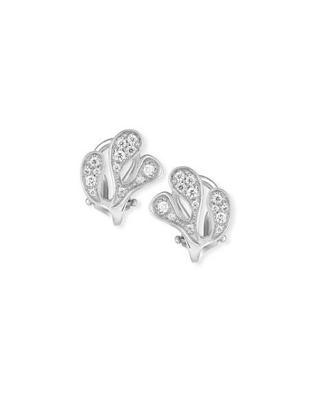 Sea Leaf Diamond Stud Earrings in 18K White Gold