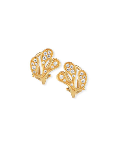 Sea Leaf Diamond Stud Earrings in 18K Yellow Gold