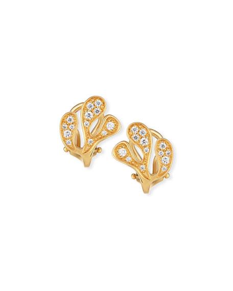 Sea Leaf Diamond Stud Earrings in 18K Yellow Gold
