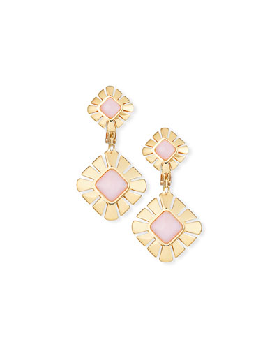 18K Gold & Pink Opal Drop Earrings