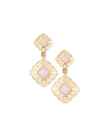 18K Gold & Pink Opal Drop Earrings