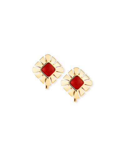 Vesuvio Carnelian & 18K Gold Stud Earrings