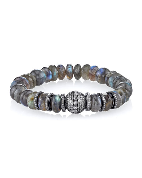 10mm Beaded Labradorite Bracelet with Diamond Rondelles