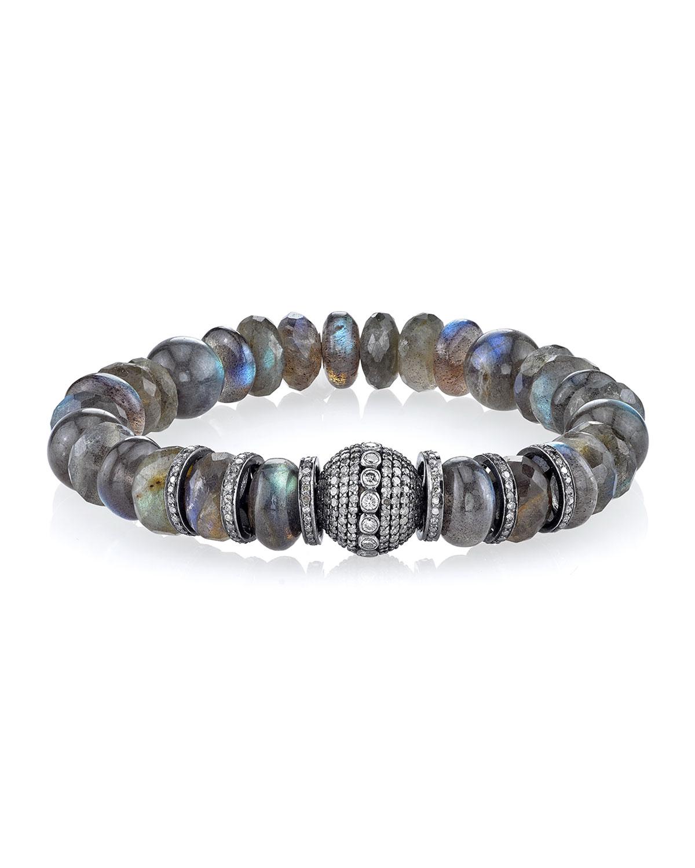 Sheryl Lowe 10mm Moonstone Beaded Bracelet with Diamond Rondelles cGylzuE