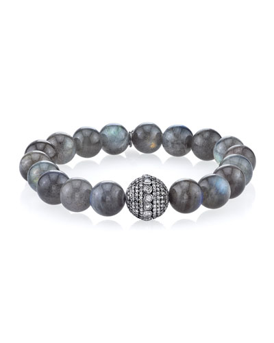 10mm Labradorite Beaded Bracelet with Diamond Bezel Bead