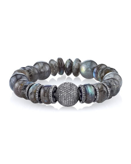 12mm Labradorite Beaded Bracelet with Diamonds