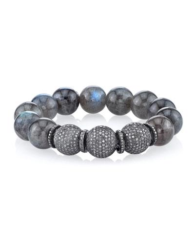 14mm Labradorite Beaded Bracelet with Diamonds