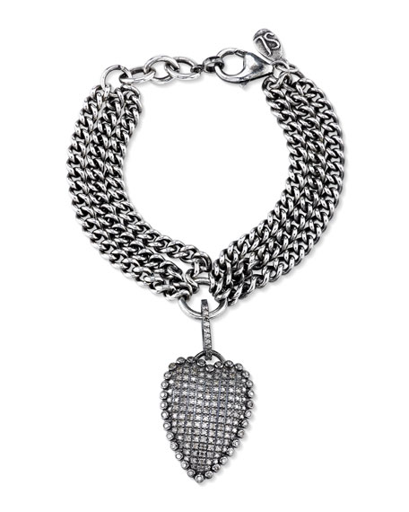 Layered Curb Chain Bracelet with Diamond Heart Charm