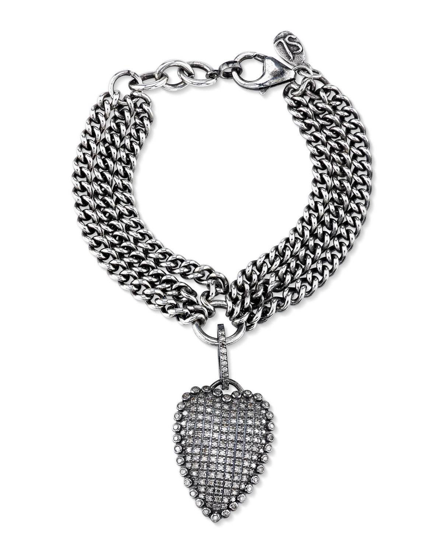 Sheryl Lowe Layered Curb Chain Bracelet With Diamond Heart