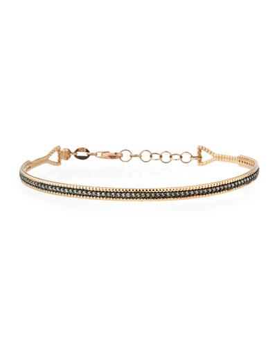 Single Bar Bracelet with Champagne Diamonds in 14K Rose Gold